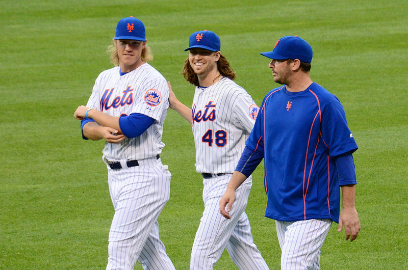 Mets Pitchers Noah Syndergaard, Jacob deGrom and Matt Harvey